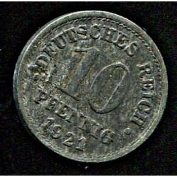 Saksamaa:10 pfennig 1921, VF