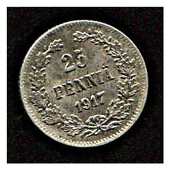 Soome 25 penniä 1917, XF