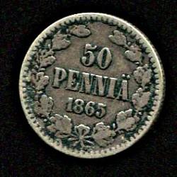 Soome 50 penniä 1865, VF