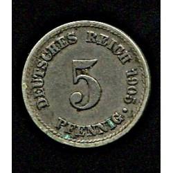 Saksamaa 5 pfennig 1905,...