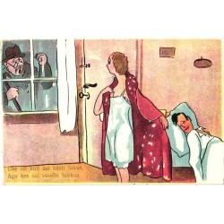 Naine mehega voodis,...