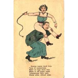 Naine piitsaga mehe seljas,...