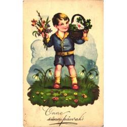 Poiss korviga, lilled, enne...